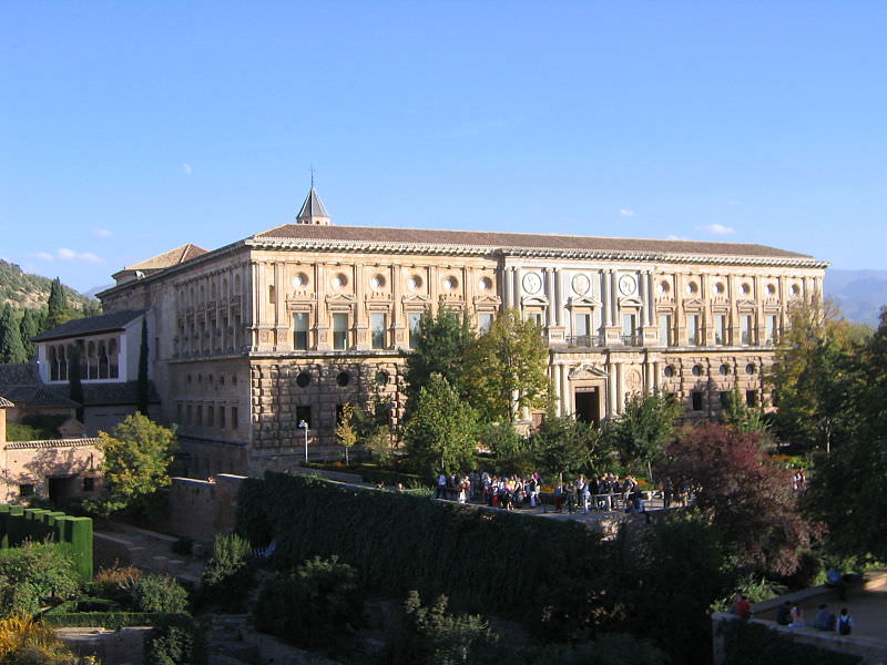 Palacio Carlos V on the west side of the Alhambra