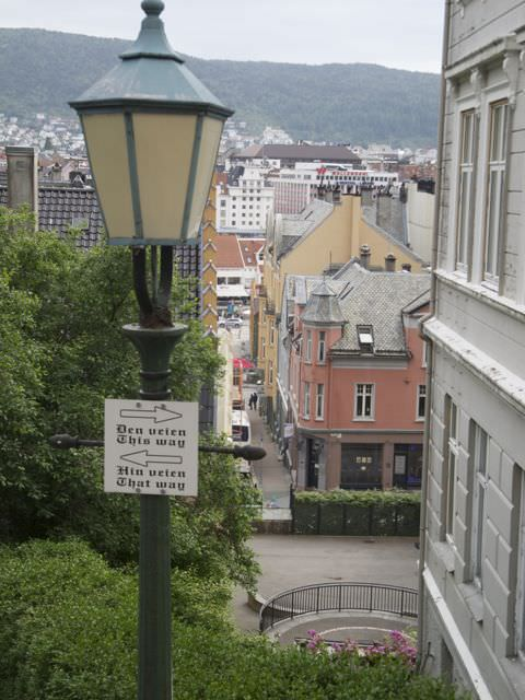 Bergen clambering up the hillsides