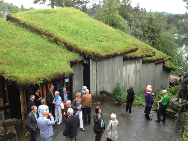 Eco-roof of concert hall at Troldhaugen (note statue of Grieg on right)