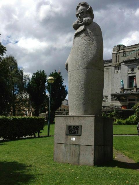 Henrik Ibsen statue in Bergen, by sculptor Nils Raa