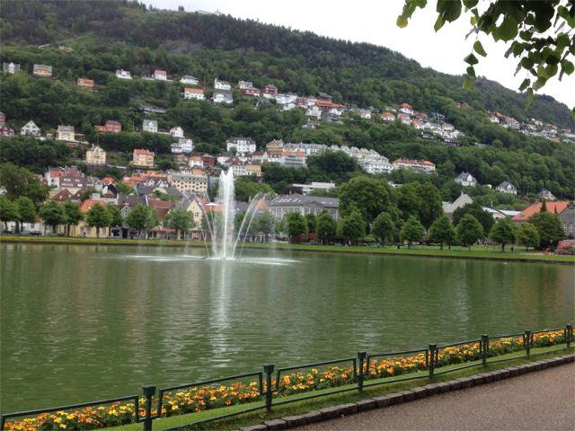 Lille Lungegardsvann Lake, in the center of Bergen