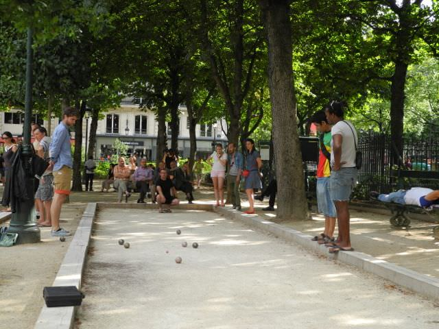 Petanque (or boules) court in Square Emile Chautemps