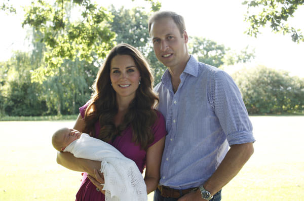 Duke and Duchess of Cambridge and their newborn son, Prince George