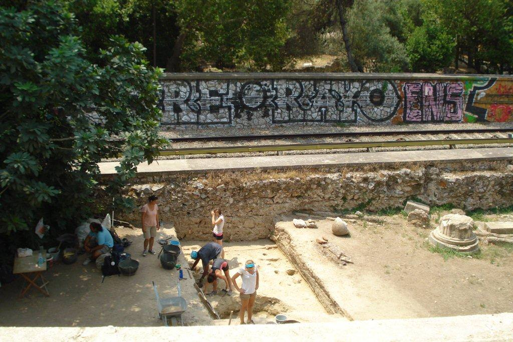 Digging by the rail line in Athens