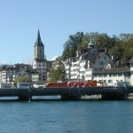 Several bridges cross the Sihl River--old Zurich in background
