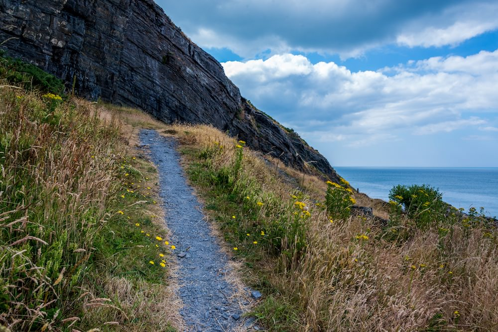 Steep cliff top sections can be found all along the WCP like this part at New Quay.