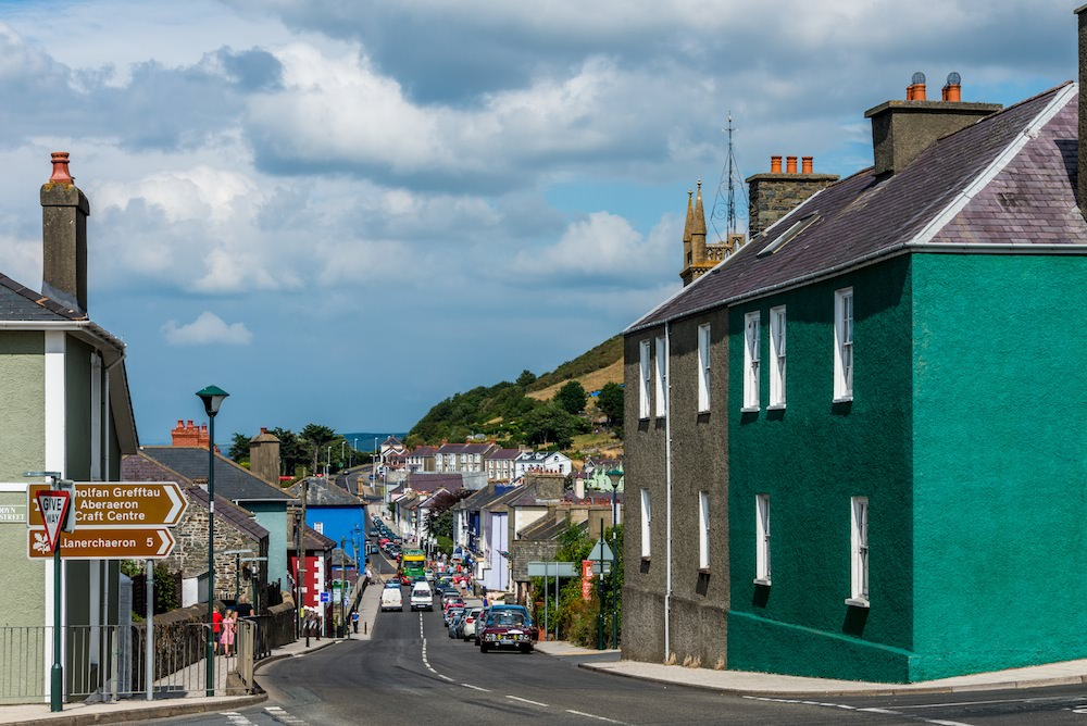The Main Coastal Road Runs through Aberaeron, with Colorfully Painted Georgian Houses.