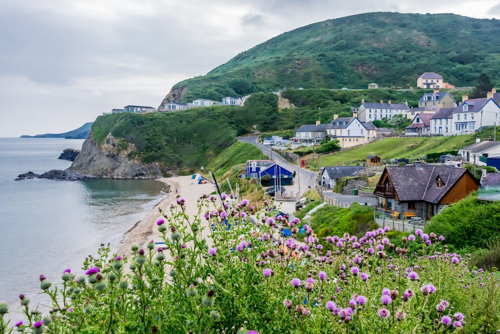 The view of the small fishing town of Tresaith from the WCP trail.