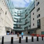 We enter the BBC Broadcasting House through a wide courtyard, thirty meters across, and 60 meters deep.