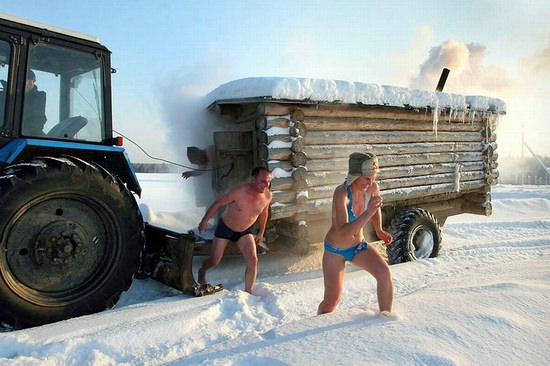 The Banya and a roll in the snow are the best way to survive Russian winters