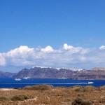 Distant cliff view Santorini