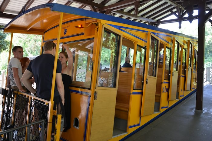 The Water-powered Funicular Railcar Still Carts People Up and Down the 440-meter Long Rail