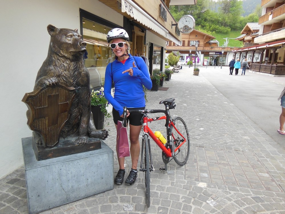 Melanie Taking a Break in Pedestrian-friendly Gstaad