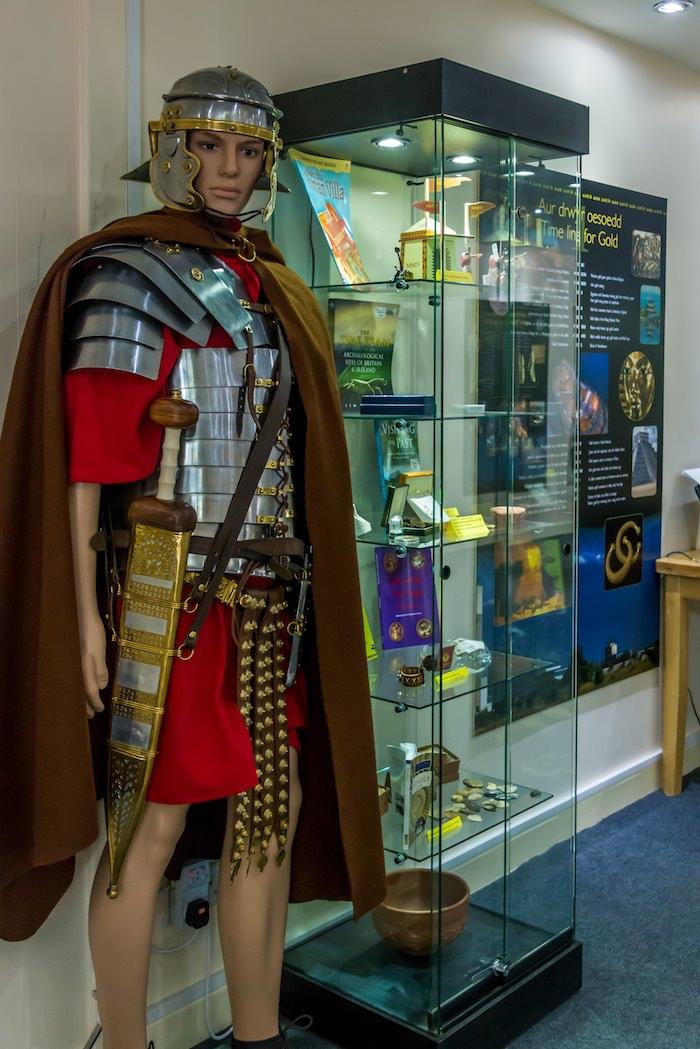A fierce looking Roman legionnaire manikin stands guard here