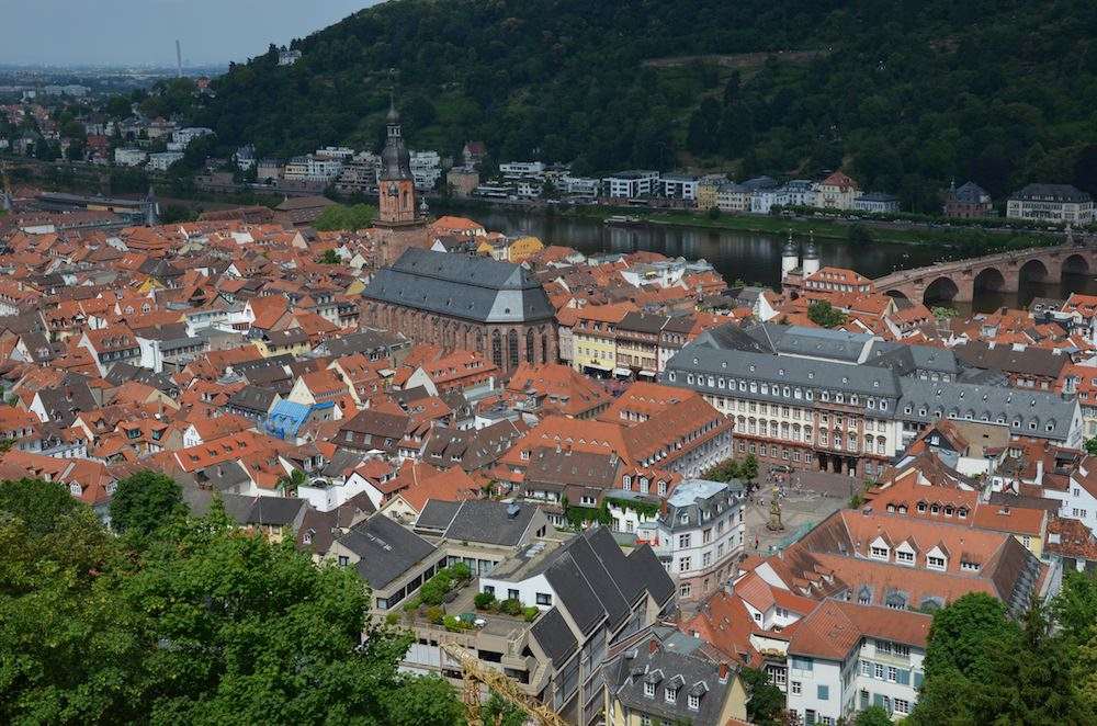 The Picturesque Jumble of Red And Gray Tiled Roofs of Old Town. Heidelberg