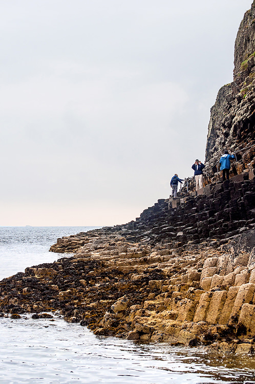 Walking on top of the basalt columns to reach Fingal's Cave takes strong nerve.