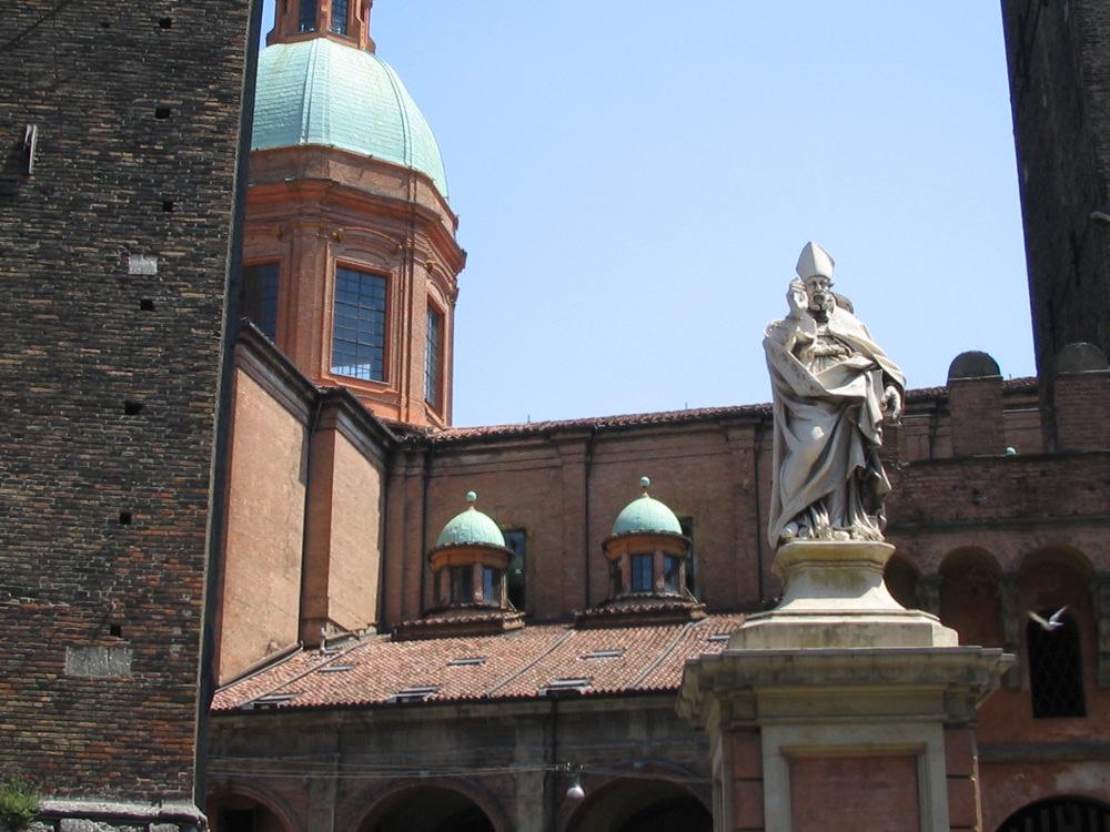 The patron saint of Bologna, Saint Petronius, keeps watch over his city