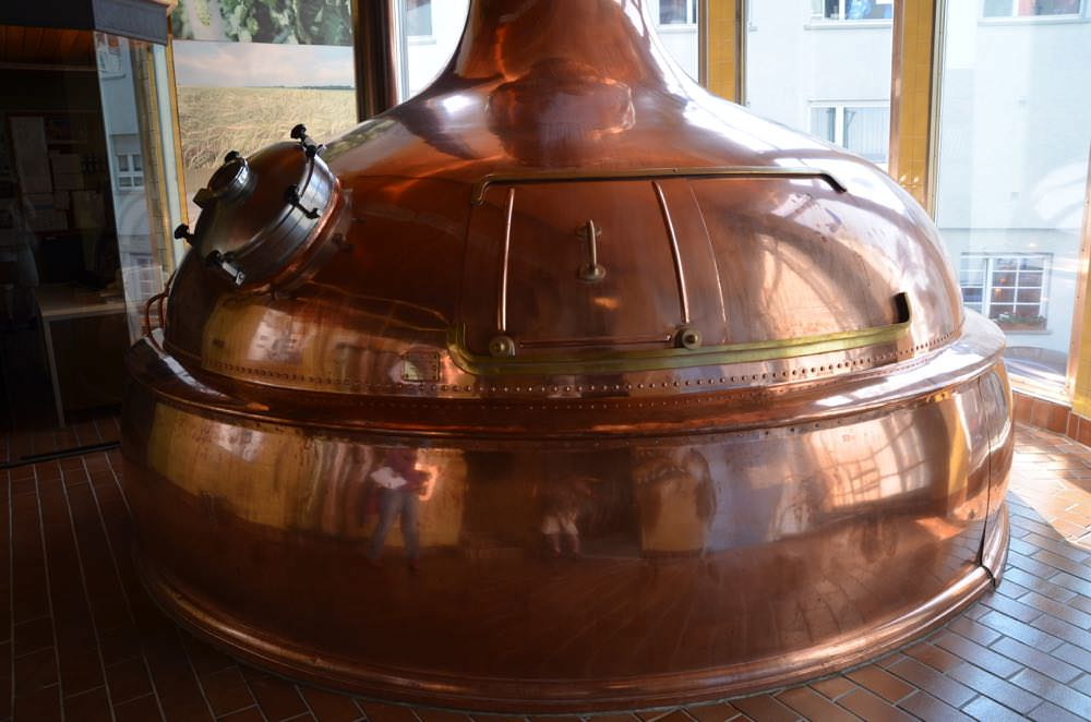Polished copper mash tun fermentation tank