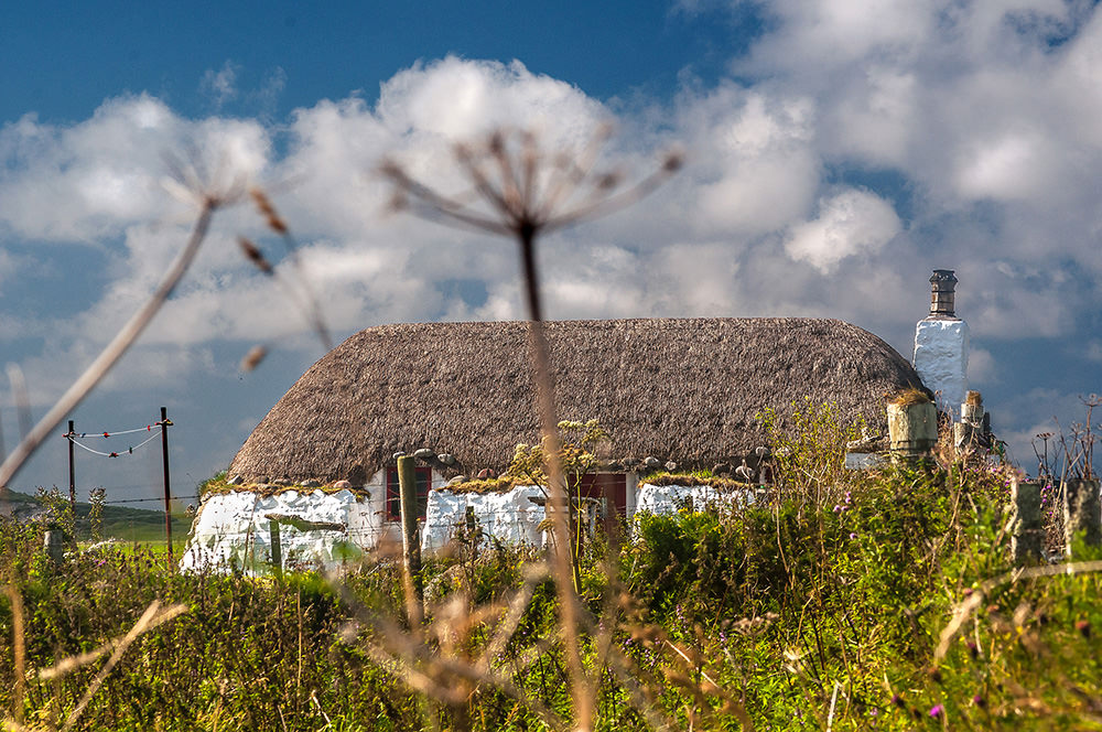 Many restored and freshly thatched crofter's cottages dot the Tiree landscape; the abandoned ones are falling into ruins.