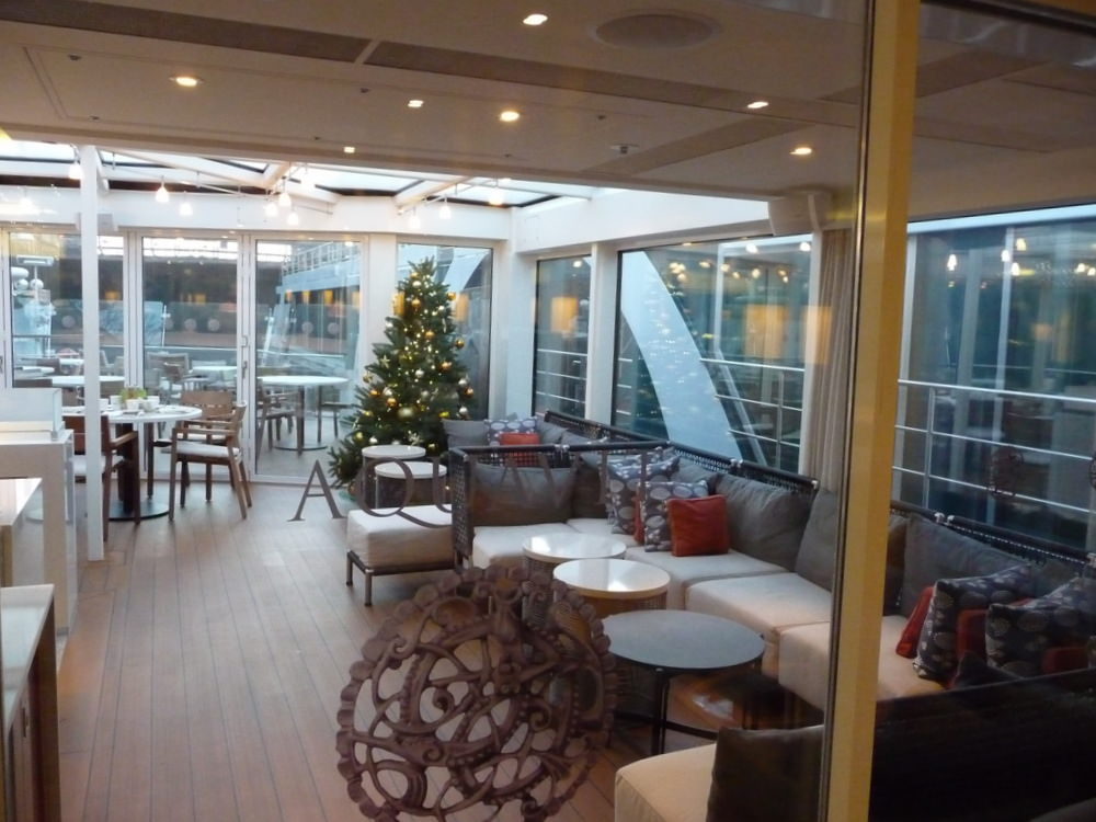 The Aquavit terrace at the front of the ship offered a quiet place for a casual lunch on our river cruise