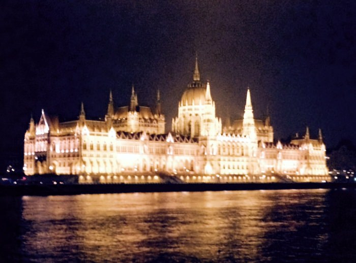 Budapest Parliament as we arrived in Budapest on our Christmas Market cruise