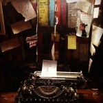 Inside a writer's booth at Shakespeare and Company
