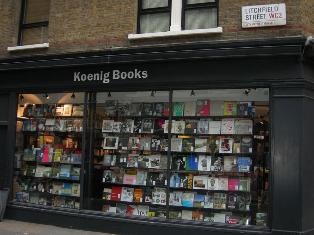 The windows of Koenig Books on a book tour of London