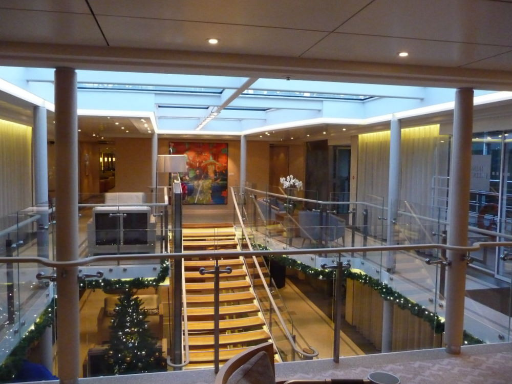 the lobby of the Viking Baldur for our Christmas market river cruise