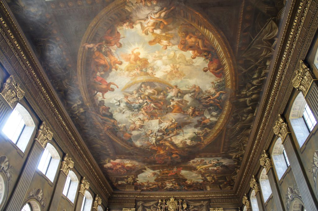 The Baroque ceiling in the Painted Hall