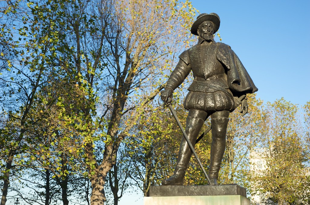 Sir Walter Raleigh cuts a dashing figure in front of the Heritage Centre