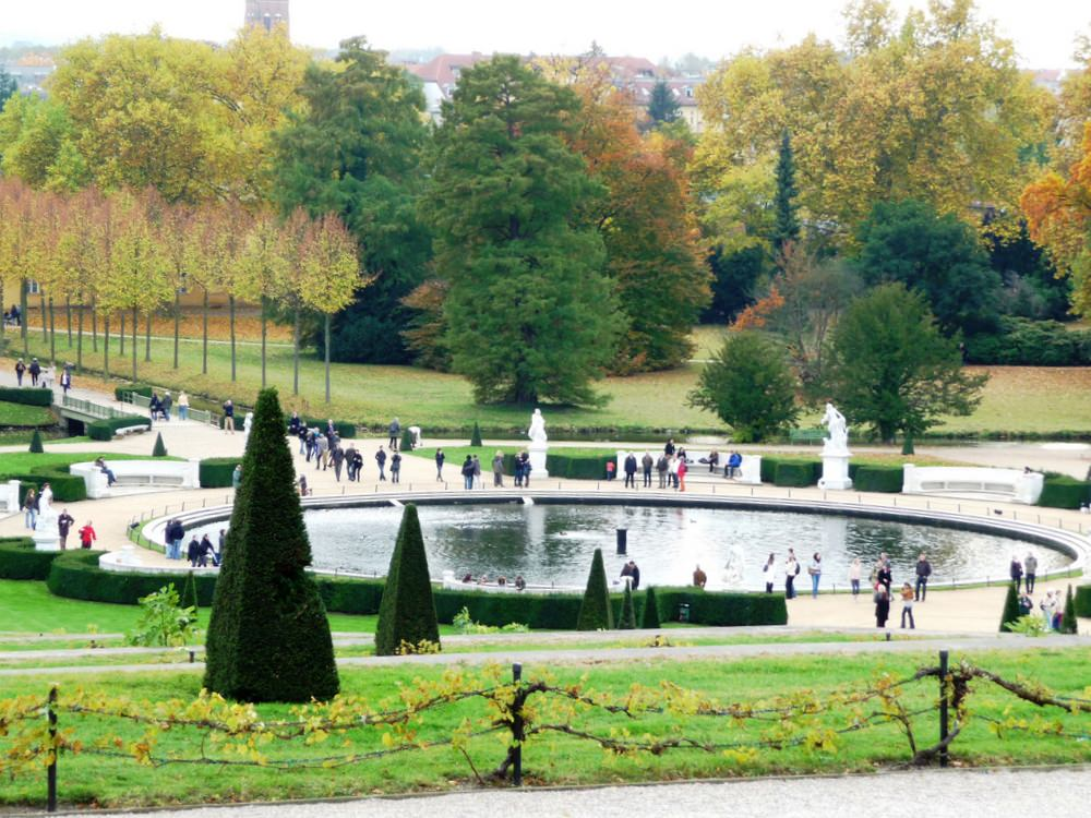 The park and gardens of Sans Souci in Fall