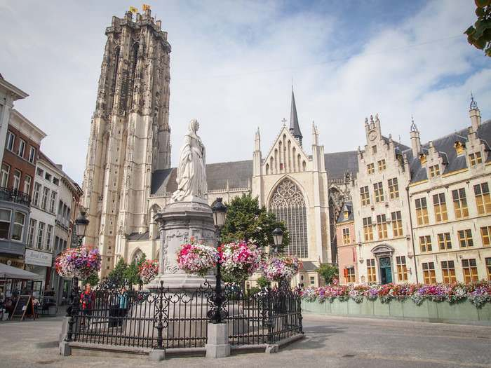 The massive Saint Rumbold's Cathedral in Mechelen is a UNESCO World Heritage Site