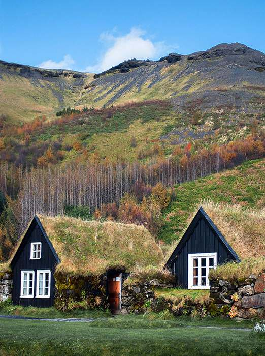 The turf houses of Iceland were the answer for survival in a harsh climate. With no timber, settlers built them with rocks and turf and often backed them deep into hillsides. The remaining few, built in the late-1800s, were occupied till the 1950s and '60s