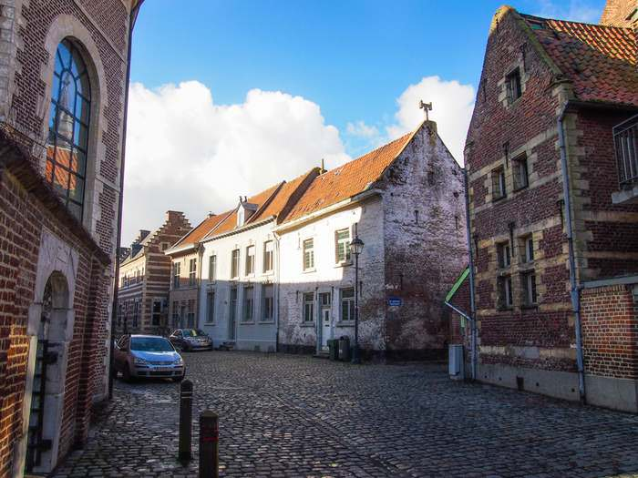 Cobbled street in the beguinage of Tongeren, a UNESCO World Heritage Site