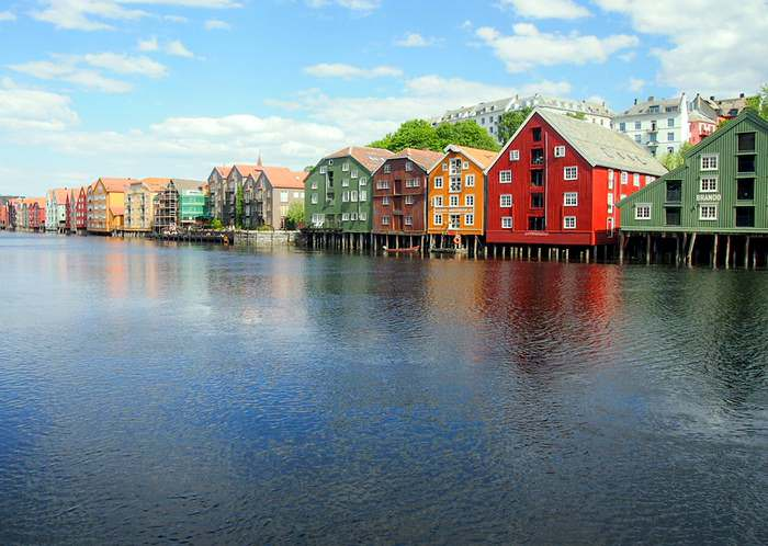 Colorful houses along the Nidelva River in Trondheim
