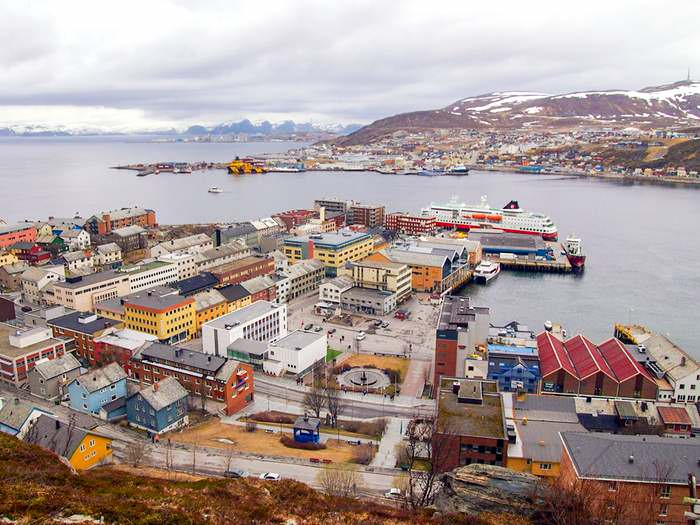 A Hurtigruten ship at its dock in Hammerfest