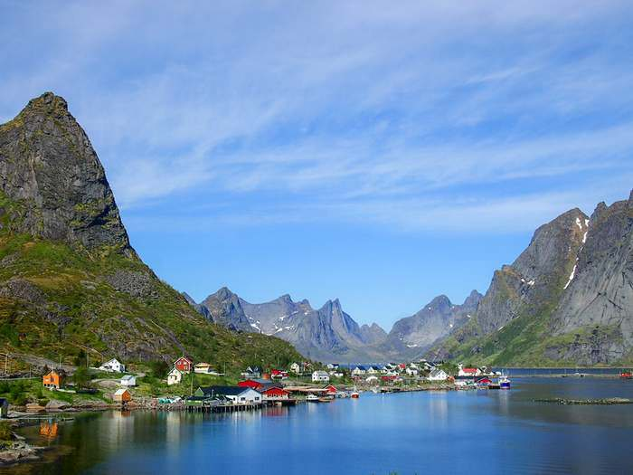 This is the beautiful town of Reine in the Lofoten Islands.