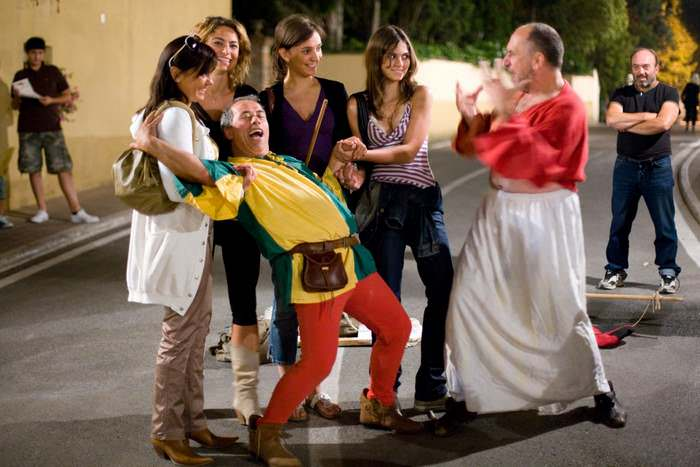 Street performers liven the streets of Solomeo during its summer Renaissance Fair.