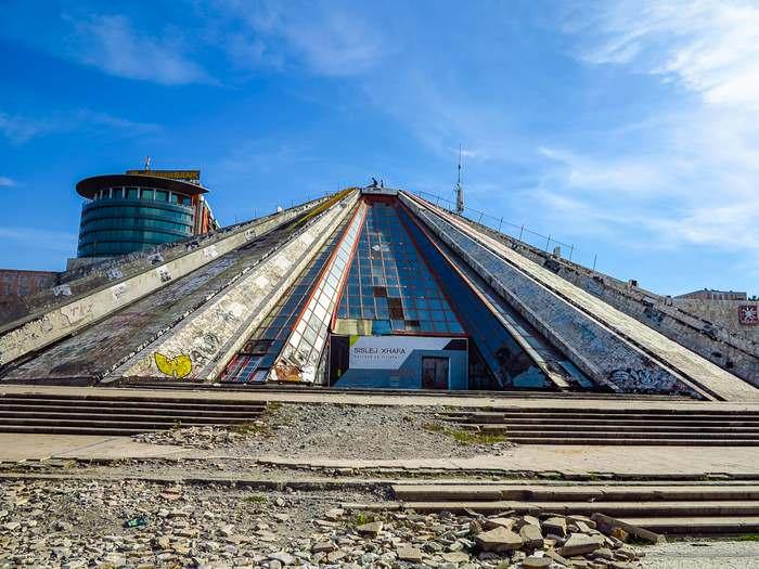 the decrepit Hoxha Pyramid in Tirana