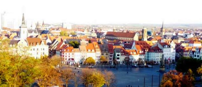 The charming red-roofed homes in Erfurt