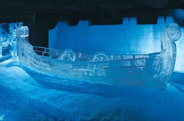 Ice sculpture of a Viking Ship