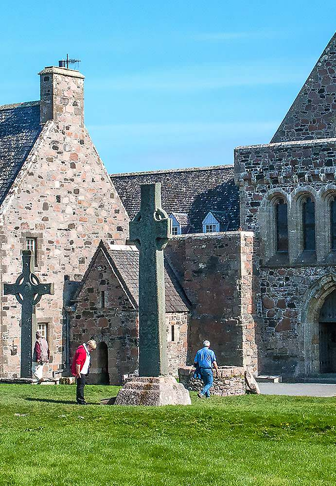 St. Columba's Shrine is the small building against the wall.
