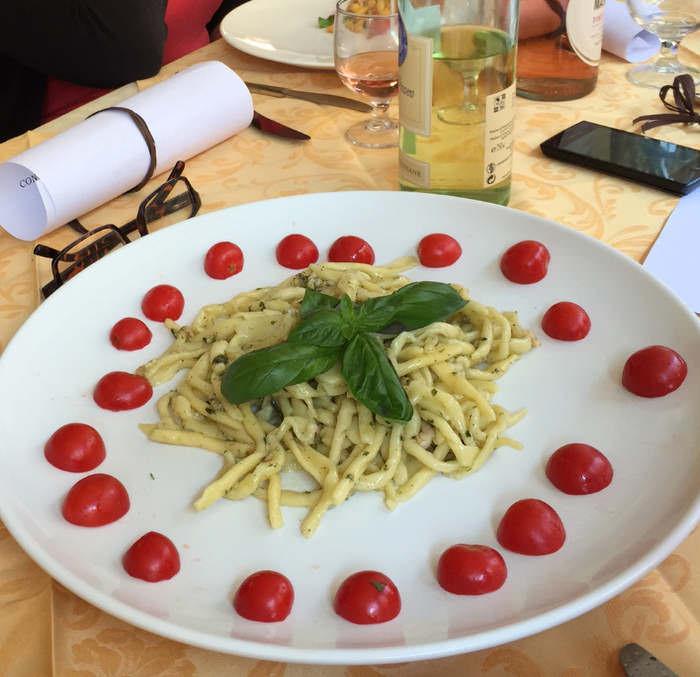 strozzapreti with pesto.