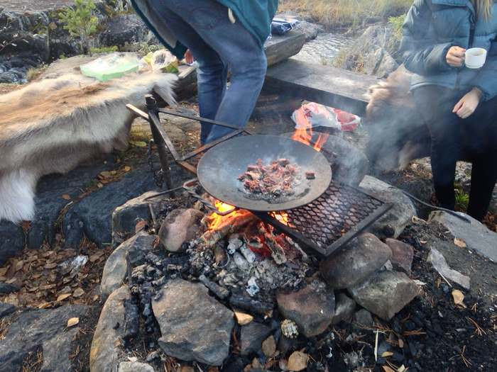 Delicious reindeer BBQ in Northern Sweden