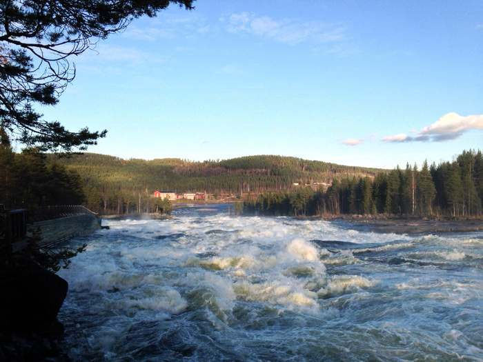 the Pite River at the mouth of the Storforsen falls in Northern Sweden