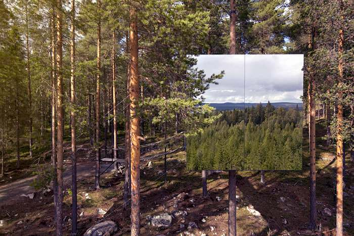 The Mirror-Cube at the Treehotel, one of Scandanavia's most unique hotels