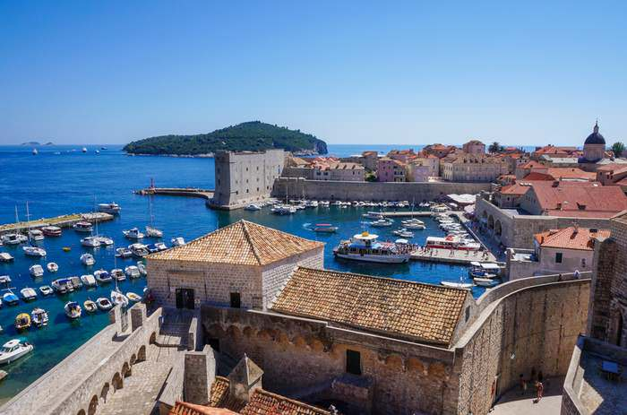 Boats bobbing in the Harbor of Dubrovnik, Croatia