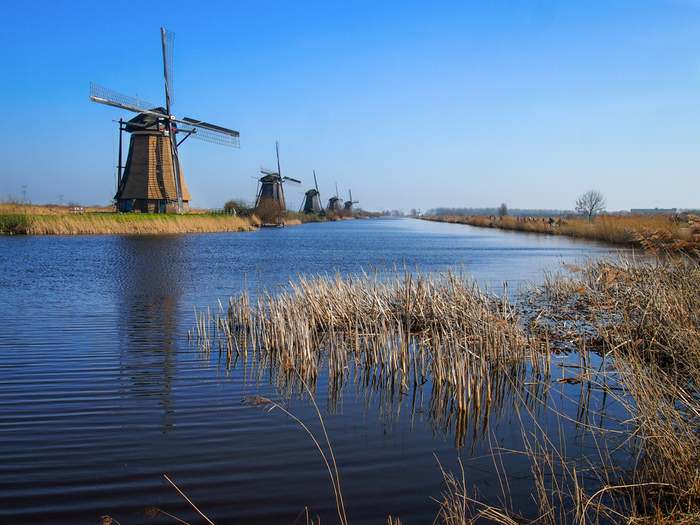 The Kinderdijk Windmills line the Overwaard canal