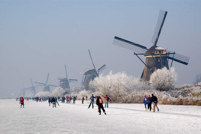 Kinderdijk windmills in winter