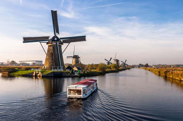 A beautiful fall day at the Kinderdijk windmills